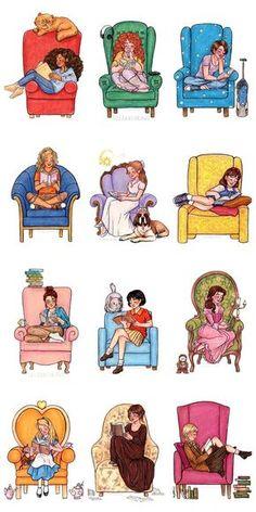 Hermione Granger(Harry Potter), Eleanor(Eleanor and Park), Hazel Grace(The fault. I Love Books, Good Books, Books To Read, My Books, Reading Books, Girl Reading Book, Eleanor And Park, Illustration, World Of Books
