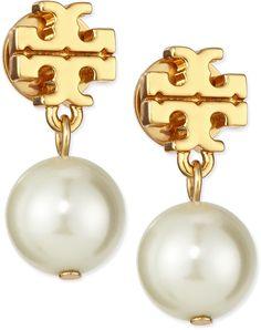 Tory Burch Logo & Simulated Pearl-Drop Earrings
