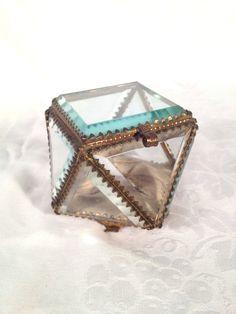 Victorian Jewelry Casket, Small Glass Jewelry Box, Glass Vanity Box, Glass…