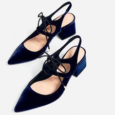 Zara Velvet Tie-Up Heeled Slingback Shoes Tie Up Heels, Lace Up High Heels, High Heel Boots, Lace Up Shoes, Me Too Shoes, Heeled Boots, Wedge Boots, Blue Velvet Heels, Velvet Block Heels