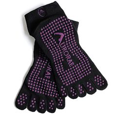"""Aurorae Yoga """"The Ultimate"""" Non-Slip 5 Toe Sock (Black With Purple Print) Workout Days, Fun Workouts, Workout Gear, Yoga Positionen, Foot Spray, Yoga Socks, Better Posture, Athletic Socks, Yoga For Weight Loss"""