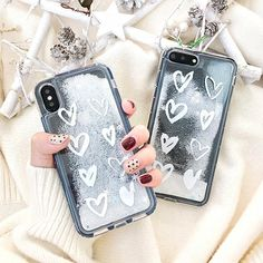 Heart, Snowflake Glitter, Quicksand Phone Case for iphone #Iphone