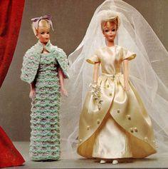 Vintage Barbie PATTERNS # 173 Crochet Knit Sewing Wedding dress Gloves Viel Hat #CoatsClarks