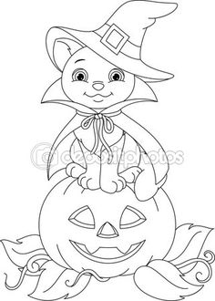 Halloween Coloring Page Cute Bat On Pumpkin
