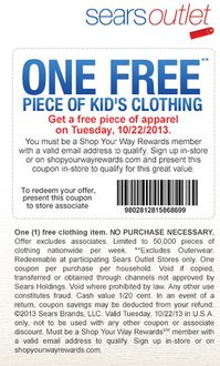 Free piece of kids clothing at Sears Outlet today 10/22