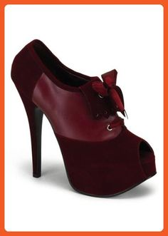 Pleaser Women's Teeze-16 Platform Pump,Burgundy Velvet,8 M US - Pumps for women (*Amazon Partner-Link)