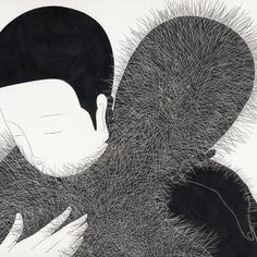 """For his first show in Norway, Korean illustrator Daehyun Kim, alias Moonassi, presents 7 new works especially created for the event in his signature monochrome style. The theme of these works is understanding, tolerance and """"the difficulties of being together."""""""