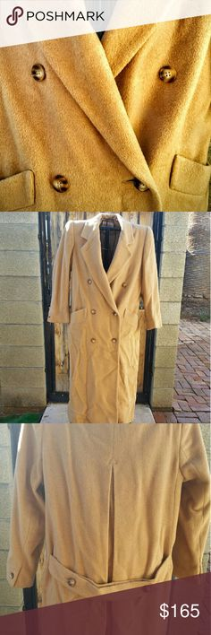 Talbots Vintage 100% Camel Hair Overcoat sz 8 Dress up any outfit with this luxurious classic. It will keep you so warm and looking posh even in a damp cold.  A bit wrinkled from storage (I live in Phoenix, only wore it once on a trip to London for Christmas) otherwise in great condition. Slightly loose fitting and full length,  and did I mention warm?! Talbots Jackets & Coats
