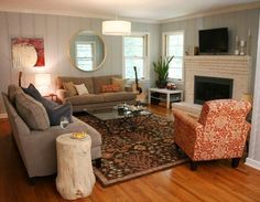 Flooring, fireplace, wall colors: Before & After: Molly's Family Room Fireplace Makeover