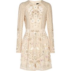 Needle & Thread Embellished chiffon mini dress (£325) ❤ liked on Polyvore featuring dresses, ivory, short sequin dress, pink dress, pink cocktail dress, sequin dress and flower print dress