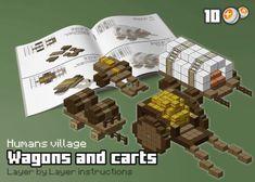 HUM – Wagons and carts by spasquini on DeviantArt - Minecraft Villa Minecraft, Château Minecraft, Minecraft Market, Casa Medieval Minecraft, Minecraft Kingdom, Minecraft Building Guide, Minecraft Statues, Minecraft Structures, Amazing Minecraft