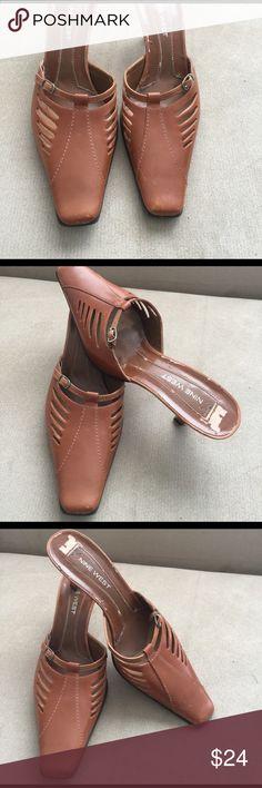 "Nine West Leather Sandal size 6.5 us Nine West open back Sandal 3"" 👠, Leather upper and Leather Sole. Used, some peeling area inside, but perfect 👌. Brown color. Nine West Shoes Heels"