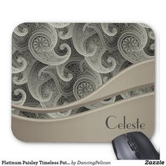 "Platinum Paisley Timeless Pattern Monogrammed Mouse Pad - A lovely paisley motif shown here in platinum gray tones with solid color brushed metallic look embellishment. Personalize with your monogram by selecting ""customize it"" and insert your monogram or name using the easy to follow template. Sold at DancingPelican on Zazzle."