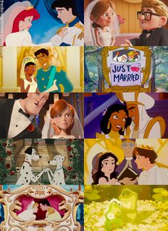 """""""Just Married"""" Disney couples! Love the inclusion of Enchanted, Incredibles, and Up! :)"""