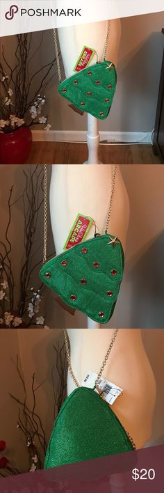 """NWTTree Crossbody  green bag New Christmas Tree green Crossbody bag with 53"""" long gold chain. Zipper side closure. Perfect holiday gift!! 7"""" by 7.5"""". Bags Crossbody Bags"""