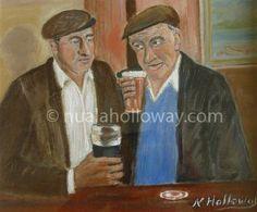 """""""Sláinte"""" by Nuala Holloway - Oil on Canvas #IrishArt #IrishPub #Pints #IrishArtist"""