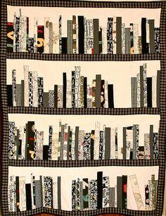 another unique bookshelf quilt design. Love the tones on this one.