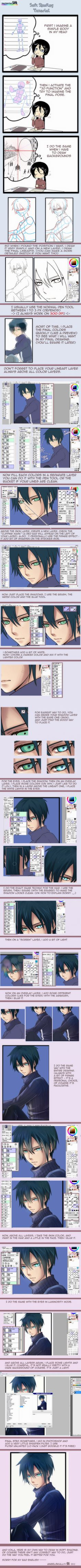 Soft Shading tutorial (Sai) + by kuro-mai.deviantart.com