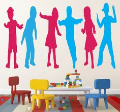 Group Of Children Wall Sticker. The vivacious image of a group of six eventful children in reds and blues on the wall decors of your kid's room is sure to give company to your little kid during forlorn times and keep his spirits elevated. http://walliv.com/group-of-children-wall-sticker-wall-art-decal