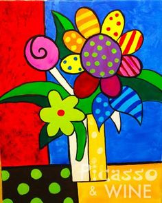 Ideas pop art ideas diy projects for 2019 Art Drawings For Kids, Art For Kids, Picasso Flowers, Fabric Painting, Painting Flowers, Happy Paintings, Arte Pop, Whimsical Art, Painting For Kids