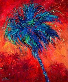 Palms, palm fronds and coconuts too Tropical Art, Tropical Paintings, Beach Paintings, Tropical Plants, Sea Life Art, Prophetic Art, Funky Art, Wallpaper Gallery, Beach Art
