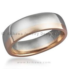 Striped Wedding Band -Two Tone - This contemporary wedding band is a combination of two precious metals.