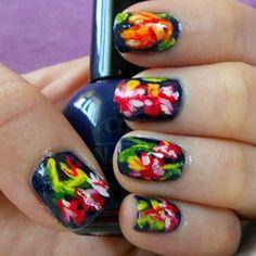 Dark Blue Flower Nails - Cult Cosmetics Magazine