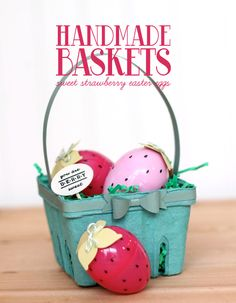 a fun easter basket idea! Use a berry basket + put little seeds on your plastic eggs Hoppy Easter, Easter Eggs, Spring Crafts, Holiday Crafts, Strawberry Shortcake Party, Basket Crafts, Berry Baskets, Easter Baskets, Handmade
