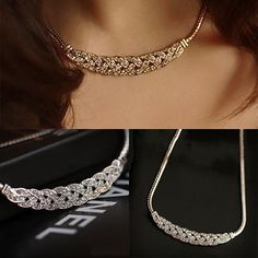 """Universe of goods - Buy Hot Sale Fshion Women Jewelry Crystal Chain Choker Chunky Statement Bib Pendant Chain Necklace"""" for only USD. Colar Fashion, Fashion Necklace, Fashion Jewelry, Women Jewelry, Star Necklace, Heart Pendant Necklace, Diamond Necklaces, Gold Necklaces, Necklace Price"""