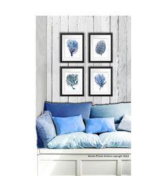 "Blue Coral print Set of 4 Sea Coral art prints beach decor wall art coastal decor art antique natural history 8x10"" GnosisPictureArchive | Master"