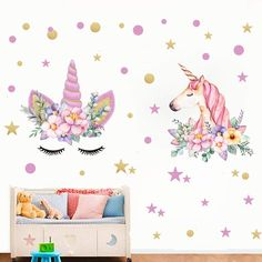 95a44e9c3f Angel Unicorn Decal, Horse Head Unicorn Wall Stickers, Unicorn Floral Decal  Fairytale Wall Decals Girls Bedroom Home Decor 2pcs With Polka Dots and  Stars …