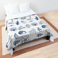 'Under the sea' Comforter by EllenBeb Water Blue, College Dorm Rooms, Square Quilt, Twin Xl, Under The Sea, Octopus, Sea Shells, Comforters, Turtle