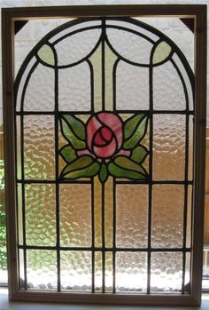 Stunning English Estate Floral Pink Green Stained Glass Window Vintage Arched   eBay
