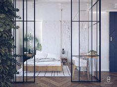 glass bedroom wall / green wall/ industrial bedroom/ white bedroom White Bedroom, Bedroom Wall, Forest Wallpaper, Industrial Bedroom, White Walls, Divider, Anna, Glass, Furniture