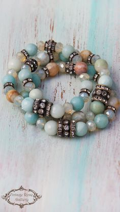 BOHO CHIC bracelet,#VintageRoseGallery,#etsy Everyday Aqua Bracelet , Boho Luxurious Bracelet, Amazonite Bracelet, Layered Bracelet, e by VintageRoseGallery