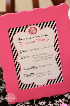 Favorite Things *Free* Printables - Black and White Striped with Pink