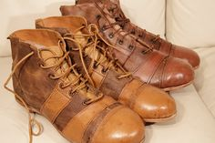 Old leather soccer boots - Handmade in England