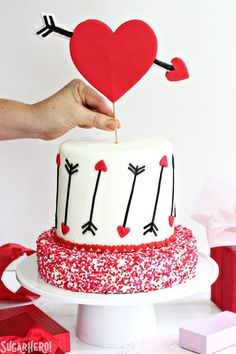 Pink and Red Velvet Valentines Day Cake - a pink and red velvet cake with a hear. Pink and Red Velvet Valentines Day Cake – a pink and red velvet cake with a heart and arrow desig Valentines Day Desserts, Valentine Cake, Cake Decorating Techniques, Cake Decorating Tips, Red Velvet Cake Decoration, Cold Cake, Cheap Clean Eating, Pecan Nuts, Different Cakes