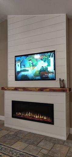 Great Absolutely Free tv over Electric Fireplace Tips Electric fireplace, cedar mantel, recessed tv Fireplace Feature Wall, Fireplace Tv Wall, Shiplap Fireplace, Fireplace Remodel, Living Room With Fireplace, Fireplace Design, Home Living Room, Tv Mantle, Indoor Gas Fireplace