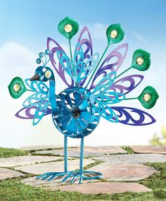 #Peacock Spinner Garden Stake - Garden art; peacock feathers