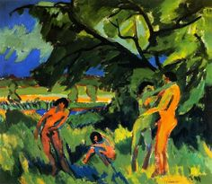 Playing Naked People by Ernst Ludwig Kirchner Ernst Ludwig Kirchner, Art Dégénéré, James Ensor, Degenerate Art, Expressionist Artists, Social Art, Davos, European Paintings, Renaissance