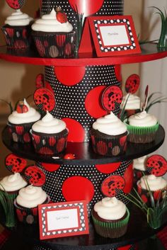 Red and black cupcake tower at a ladybug birthday party! See more party ideas at CatchMyParty.com!