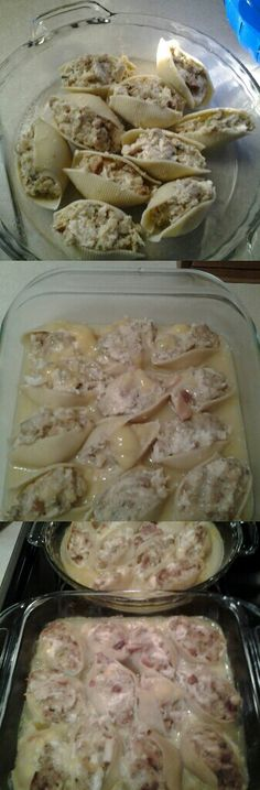 Stuffed Chicken Shells - 1/2 box jumbo shells, 1lb chicken, 1 can chicken broth, 1 can cream of chicken, 1/2 box stove top stuffing, 3/4 cup helmans mayo. Boil noodles. Cool. Cook chicken. Dice up! Cook stove top. Mix chicken, helmans, stove top. Seperate bowl mix soup and broth. Stuff shells with stuffing mixture. Grease pan. Pour soup and broth over top of stuffed shells. Done!! Bake at 325 for 45 min. Fantastic!! (Recipe can be doubled!)