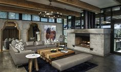 Furniture Best Marvelous Family Room Decoration With Concrete Floors Also Fireplace In Rustic Interior Design And Interior Decorating Ideas Extraordinary Luxury Interior Design Living Room