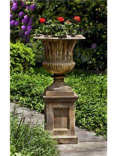 Cast Stone Planter Set: Campania International: Smithsonian Classical Urn on Barnett Pedestal Flower Pots, Urn, Plants, Garden Decor, Concrete Planters, Garden Urns, Outdoor Urns, Urn Planters, Garden Stones