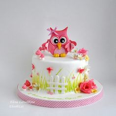 Pink Owl Cake - For all your cake decorating supplies, please visit craftcompany.co.uk (birthday cake decorating pink)