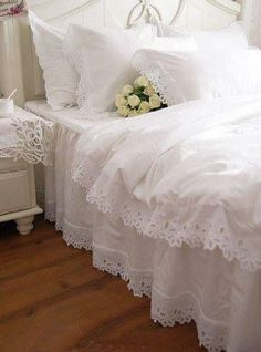 Shabby chic bedroom get white duvet cover add lace. voila ... :D