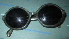 Vintage MOD 60s Charcoal Round Sunglasses Signed France Tammy Hilmar