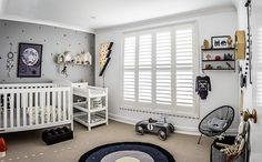 Clean, modern nursery with black triangle wall stickers