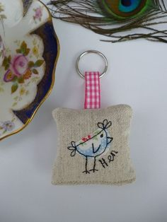 Handmade Hen Chicken Applique Keyring with a lavender scent, Cath Kidston Blue Rose fabric, oatmeal linen, denim